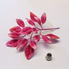 Spray of Fuchsia Pink Velvet Leaves  Milliner's Hat Trim